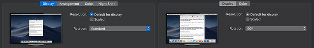 macOS Mojave horizontal and vertical displays