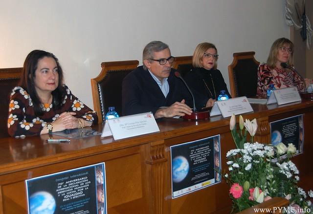 Intervinientes en la primera mesa redonda de la tercera jornada del Congreso Internacional 70 aniversario de la Declaración Universal de los Derechos Humanos y la lucha por la igualdad real y efectiva'.