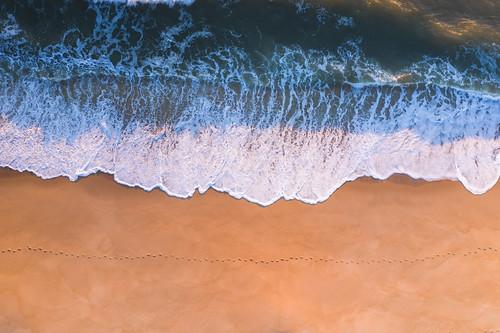 steps sand aerial view birds eye flying drone island beach belmar new jersey nj beautiful sunrise sunset warm ocean whitewater sea seascape top down