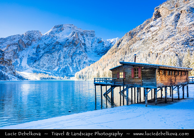 Italy - Alps - Dolomites - Lake Braies under fresh cover of snow