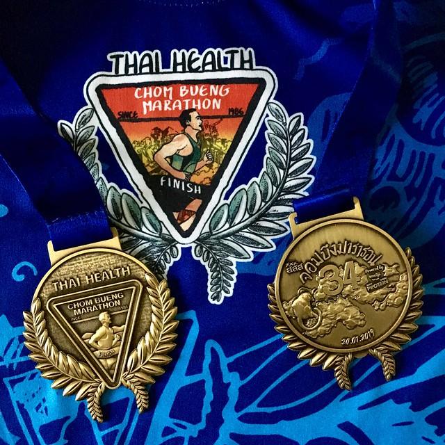 เหรียญและเสื้อ Finisher งานจอมบึง ครั้งที่ ๓๔