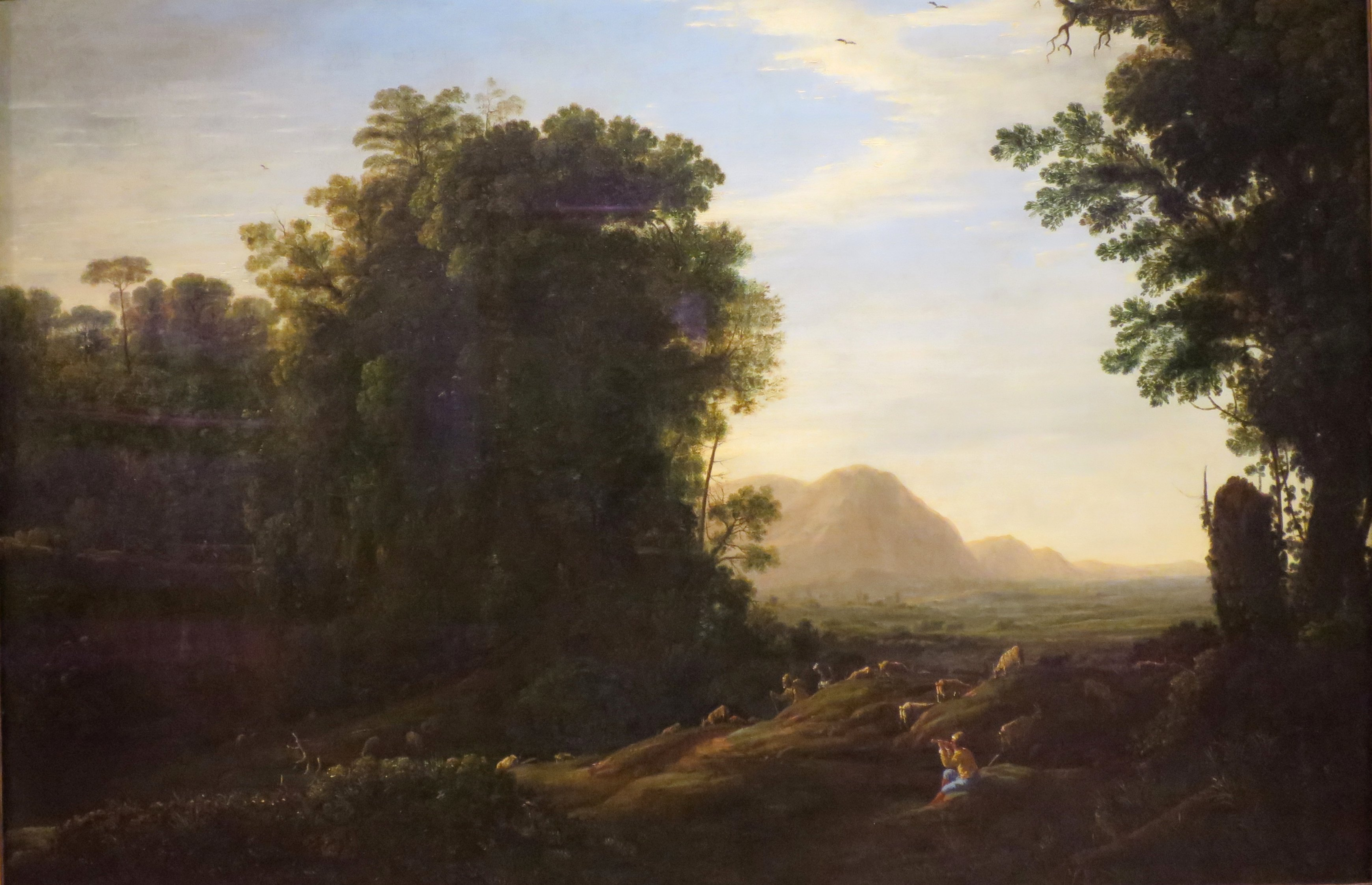 Landscape with a Piping Shepherd by Claude Lorrain, oil on canvas circa 1629-32,. Currently in the collections of the Norton Simon Museum.