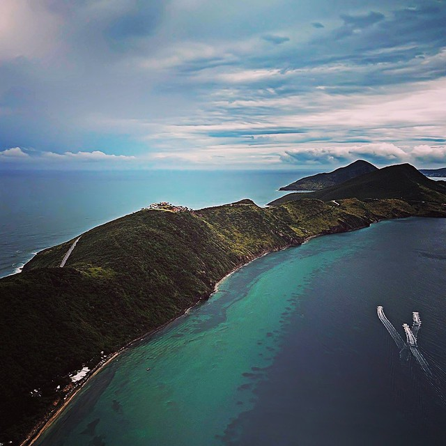 Flying above St. Kitts in the Caribbean.