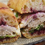 Open tonight normal hours & tomorrow for our #Thanksgiving Eve Bash with our friends @sixpoint ~ Come by and grab this gem of a sando while supplies last. <> : house hickory smoked turkey breast   black currant jam   everything bagel stuffing   @richeeses