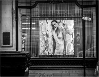 London scenes - Shop window, no loading - monochrome