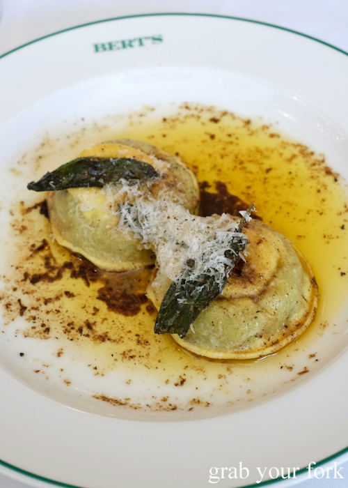 Ravioli with egg yolk, buffalo ricotta and sage at Bert's in Newport by Merivale