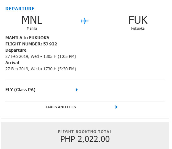 Cebu Pacific Snap Sale - Manila to Fukuoka