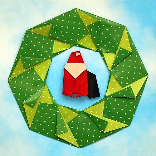 Origami Babbo Natale con ghirlanda (Luigi Leonardi)