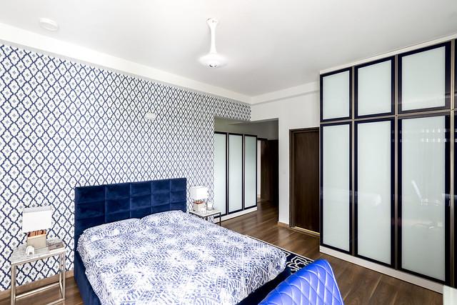 Contemporary bedroom interior design with Moroccan wallpaper