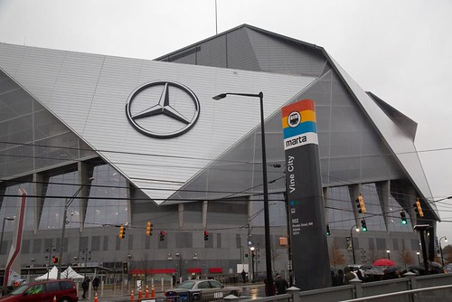 MARTA heavy rail/subway transit at Mercedes Benz Stadium (Atlanta Falcons football), Atlanta