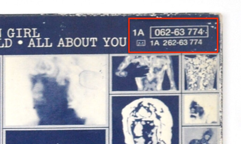"Close up of album back cover ""ROLLING STONES - Emotional Rescue"" top right corner"