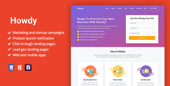 Howdy - Multipurpose High-Converting Landing Page Template