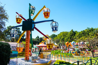 Colorful kids games in an amusement park