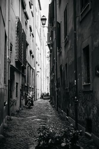 "Image titled ""Narrow street, Rome. (B&W)"""