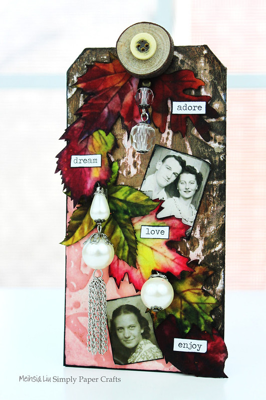 Meihsia Liu Simply Paper Crafts Mixed Media Tag Background Carabelle Tim Holtz Simon Says Stamp 1