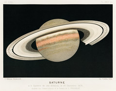 Lithograph Saturne printed in 1877, by F. Meheux, an antique representation of the planet saturn. Digitally enhanced from our own original plate.