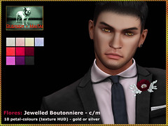Bliensen - Flores - Jewelled Boutonniere with Texture HUD 1