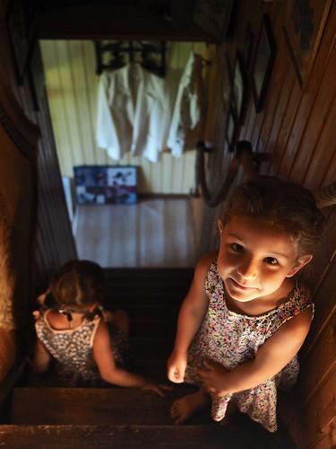 sisters on steps