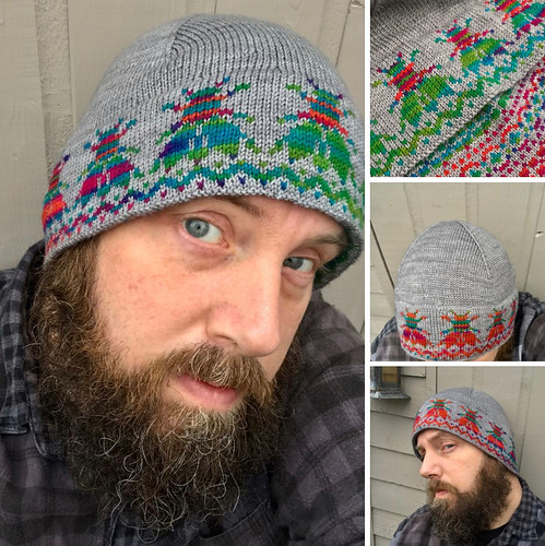 Dan Lee's SupaFlyGuy hat with a double layer of stranded colourwork, simple fairisle on the inside and a funky motif on the outside!