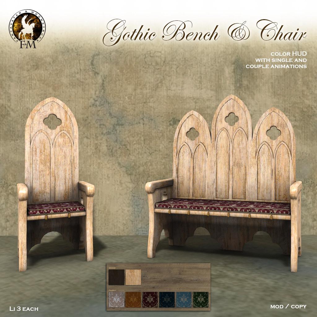 F&M Gothic Bench & Chair - TeleportHub.com Live!