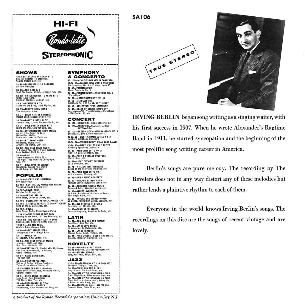 The Revelers - Irving Berlin in Cozy Stereo