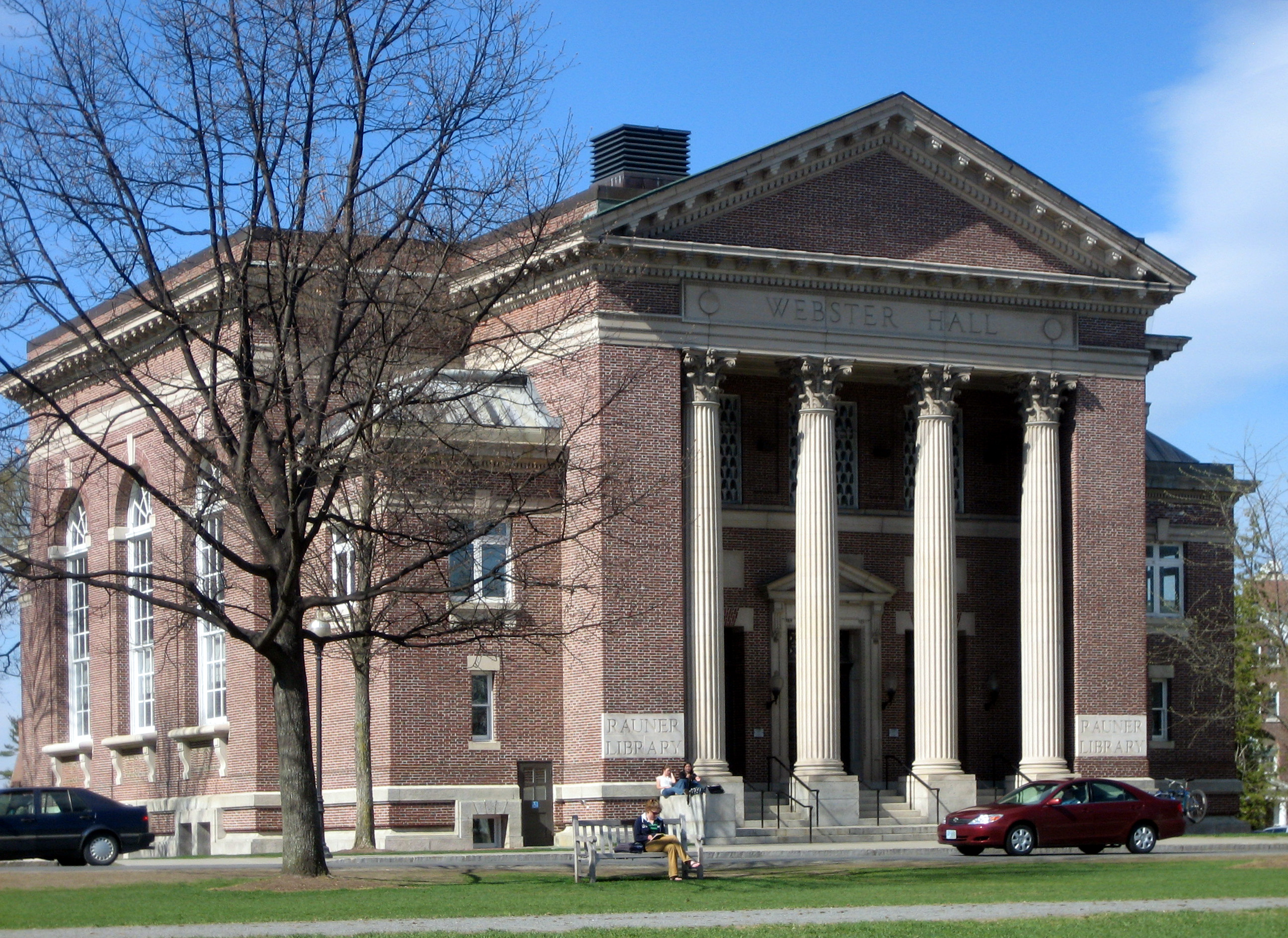 Webster Hall, at Dartmouth College, houses the Rauner Special Collections Library, which holds some of Webster's personal belongings and writings, including his beaver fur top hat and silk socks. Photo taken on May 2, 2007.