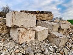 Concrete blocks and rubble