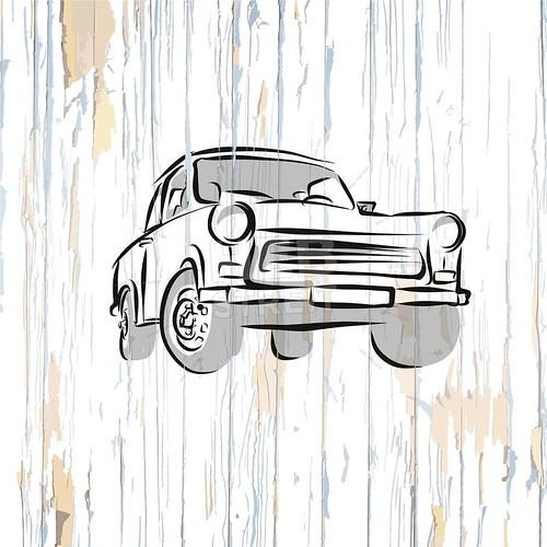Vintage german car on wooden background
