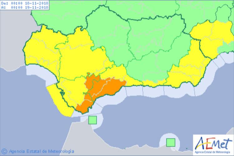 Aviso naranja este domingo por riesgo importante de lluvias y tormentas