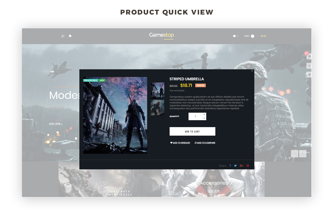 product quick view - games store prestashop theme