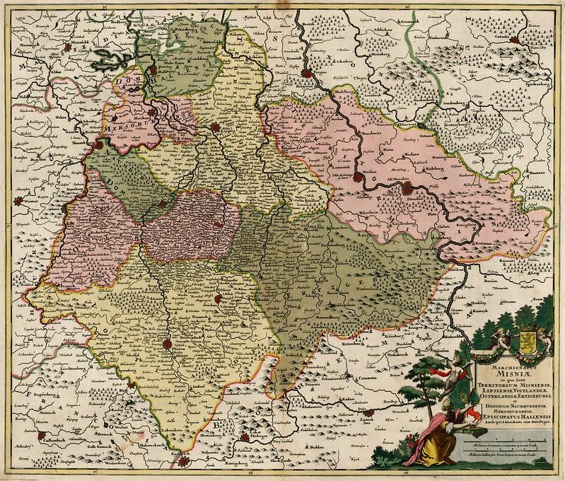 Justus Danckerts - Marchionatus Misniae in qua sunt Territorium Misniense, Lipsiense, VOitlandiae, Osterlandiae, Erzgeburgi et Dominium Naumburgense, Mersobergense, Episcopatus Hallensis (c.1700)