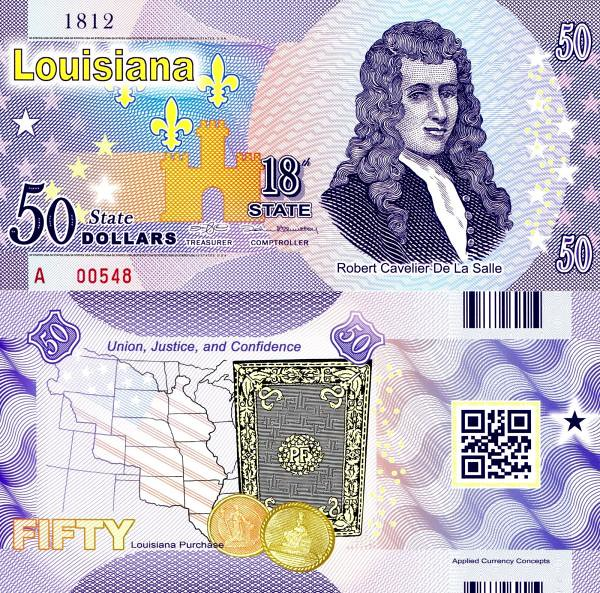 USA 50 Dollars 2015 18. štát - Louisiana polymer