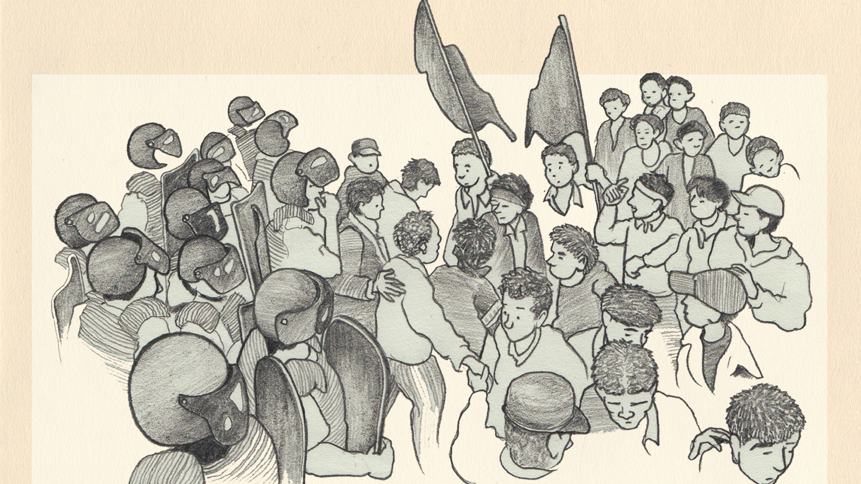 A cartoon image of protestors waving flags and police with helmets and shields