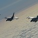 Four U.S. Air Force F-16C Fighting Falcons fly in formation during air refueling training in Swedish airspace, Feb. 8, 2018. The training was in conjunction with a rotational deployment of F-16Cs from the Ohio Air National Guard's 180th Fighter Wing to Amari Air Base, Estonia, as part of a Theater Security Package. (U.S. Air Force photo by Airman 1st Class Luke Milano)