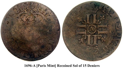 1696-A recoined sol of 15 deniers