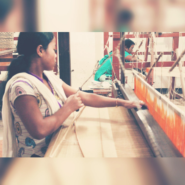 Weaving for handmade upholstered furniture in block printed fabrics