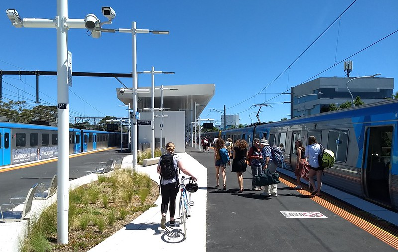 Frankston station, looking south along the platform