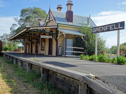 Grenfell. Old gold mining town. The railway arrived in 1901 from Cowra. This  railway station built around that time.