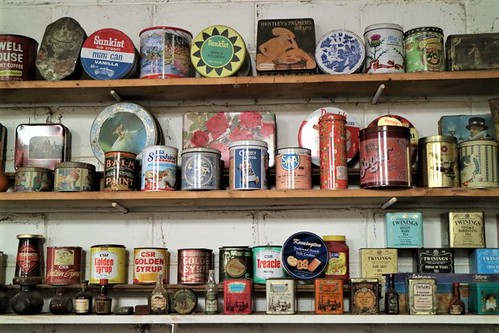 Display of tins, Finley Historical Museum, NSW