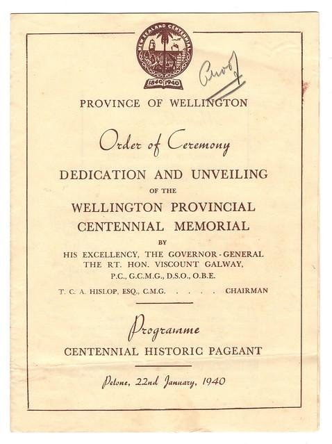 Unveiling of the Wellington Provincial Centennial Memorial, 1940