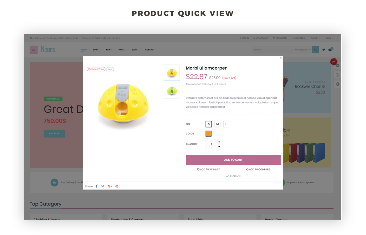 product quick view - Leo Neons - Stationery prestashop theme