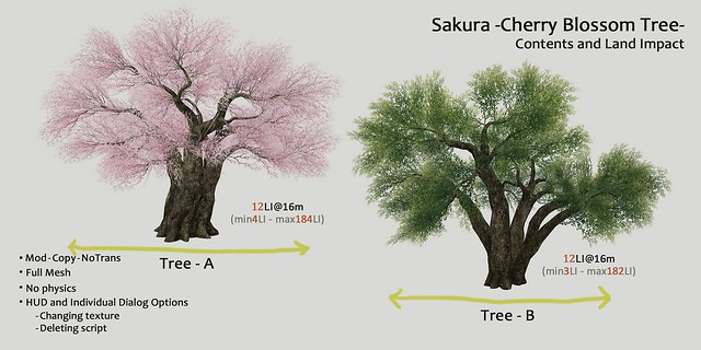 HPMD* Sakura -Cherry Blossom Tree- Contents and Land Impact