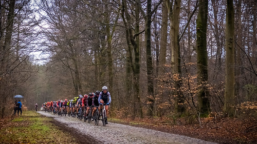 Ellen van Dijk leads on the cobbles at Schoonoord
