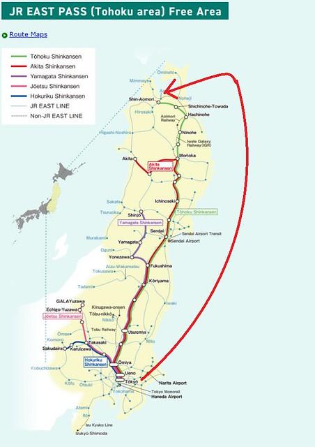 JR EAST PASS (Tohoku area)  map2 aomori
