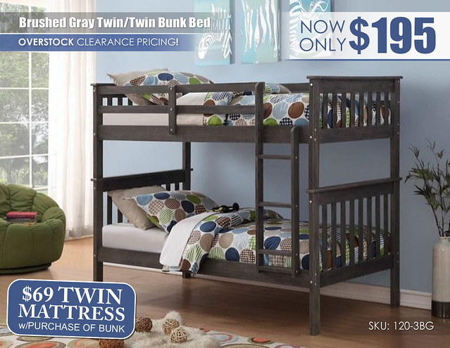 Brushed Gray Twin over Twin Bunk Bed_120-3BG_Clearance
