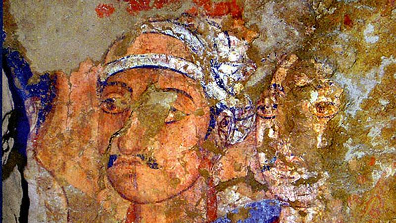 Mural yang ditemukan di Kara Tepe, pinggiran kota Termez, Uzbekistan