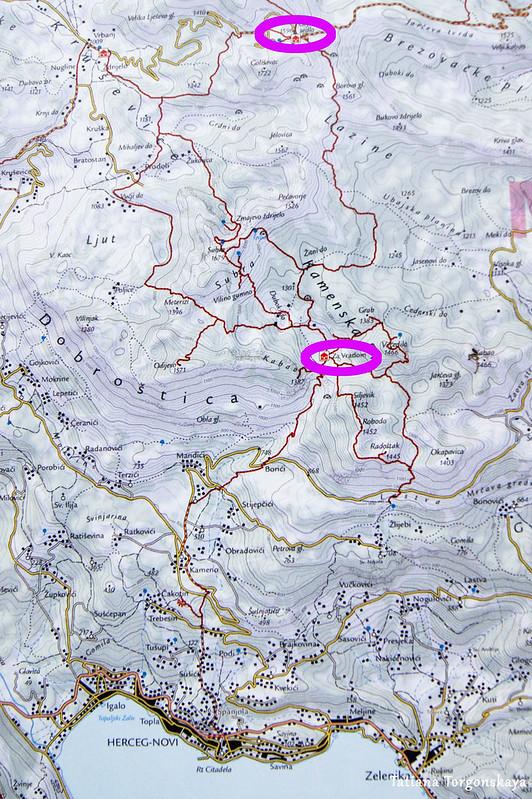 Карта с горными приютами