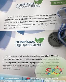 Mención en las II Olimpíadas Nacionales Agropecuarias 2018