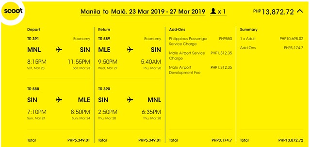 Scoot Manila to Maldives Roundtrip Promo