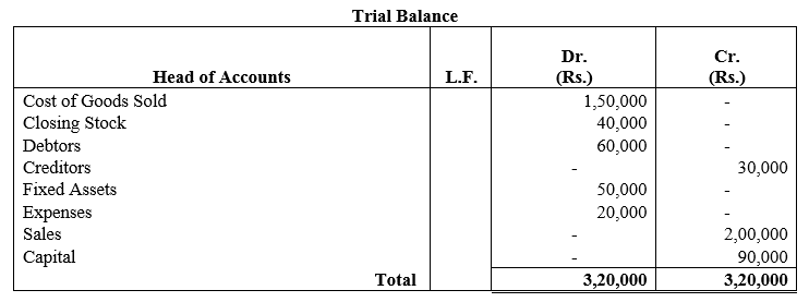 TS Grewal Accountancy Class 11 Solutions Chapter 10 Trial Balance Q13